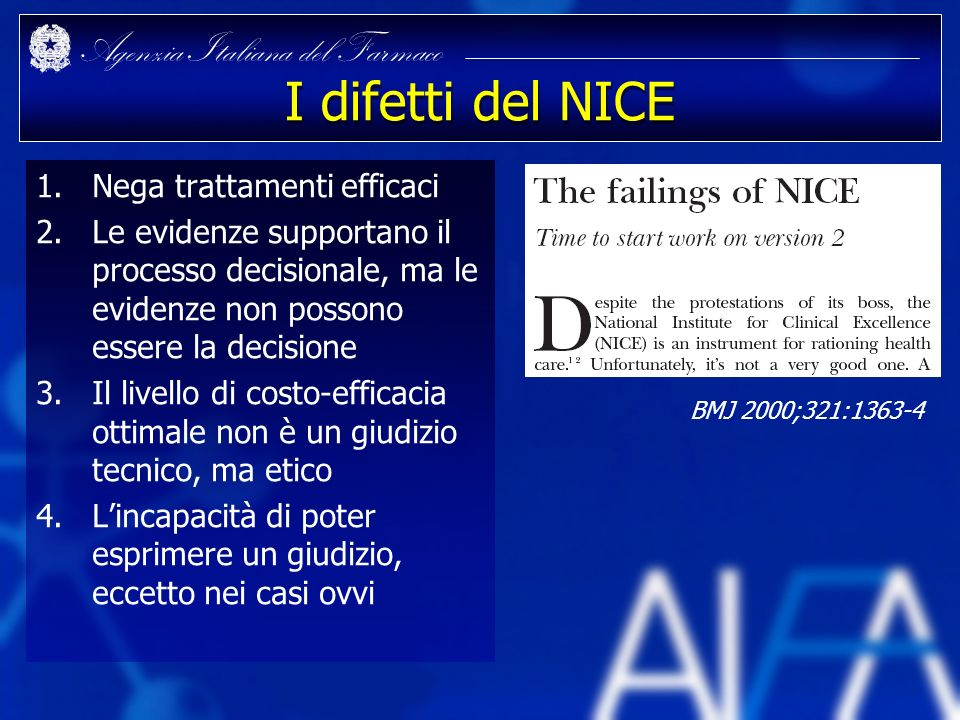 I difetti del NICE Nega trattamenti efficaci