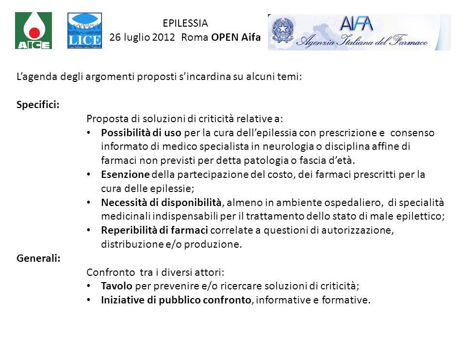 EPILESSIA 26 luglio 2012 Roma OPEN Aifa. L'agenda degli argomenti proposti s'incardina su alcuni temi: