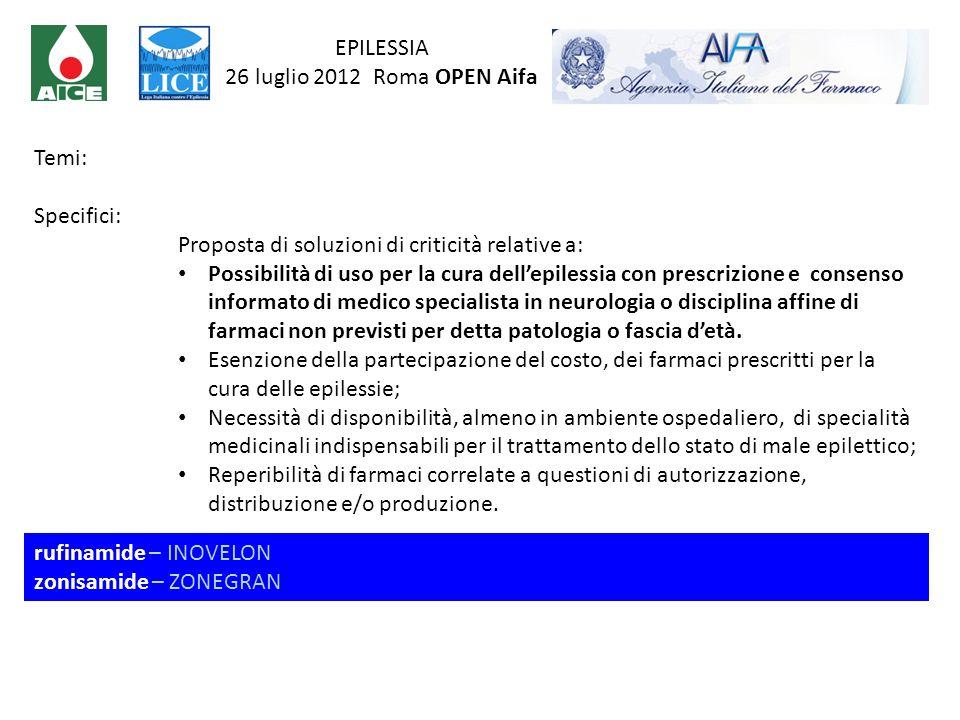 EPILESSIA 26 luglio 2012 Roma OPEN Aifa. Temi: Specifici: Proposta di soluzioni di criticità relative a: