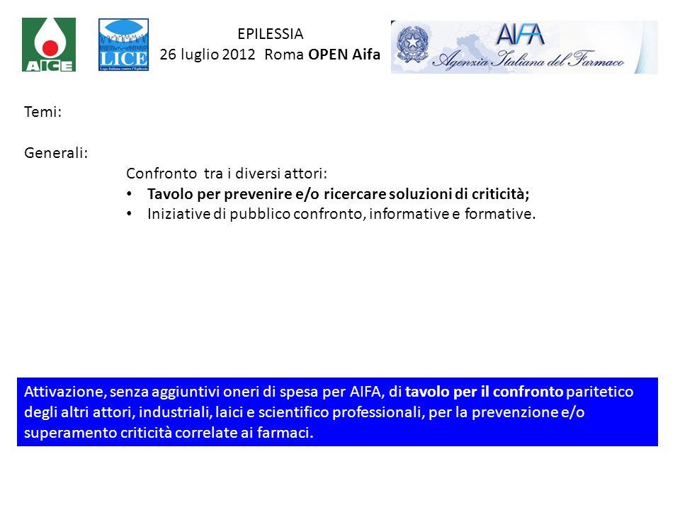 EPILESSIA 26 luglio 2012 Roma OPEN Aifa. Temi: Generali: Confronto tra i diversi attori: