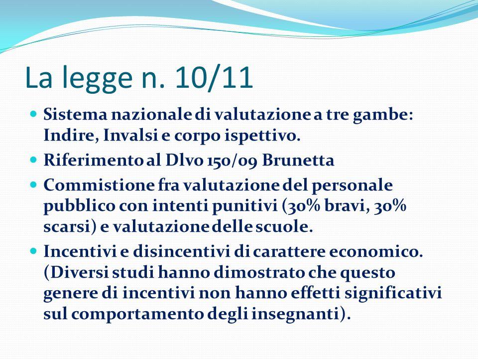 La legge n. 10/11 Sistema nazionale di valutazione a tre gambe: Indire, Invalsi e corpo ispettivo. Riferimento al Dlvo 150/09 Brunetta.