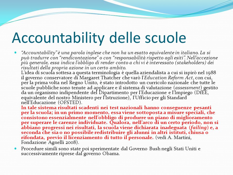 Accountability delle scuole
