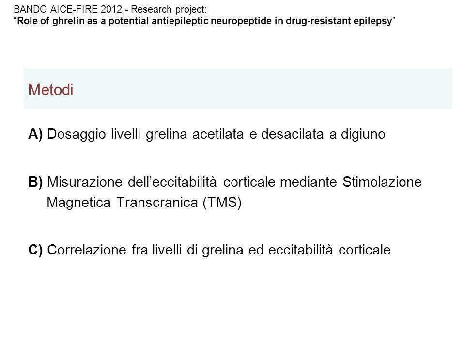 Metodi A) Dosaggio livelli grelina acetilata e desacilata a digiuno