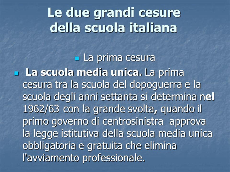 Le due grandi cesure della scuola italiana
