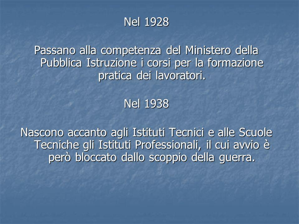 Nel 1928Passano alla competenza del Ministero della Pubblica Istruzione i corsi per la formazione pratica dei lavoratori.