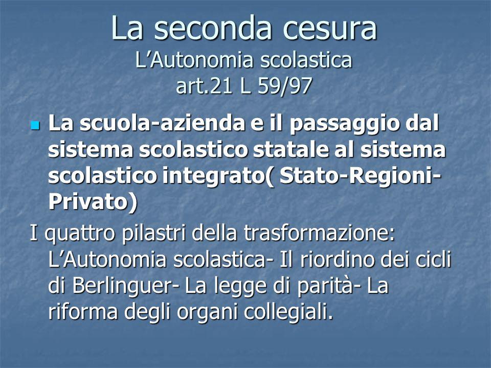 La seconda cesura L'Autonomia scolastica art.21 L 59/97