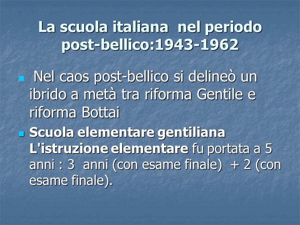 La scuola italiana nel periodo post-bellico:1943-1962