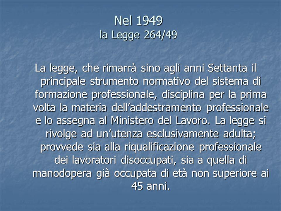 Nel 1949 la Legge 264/49