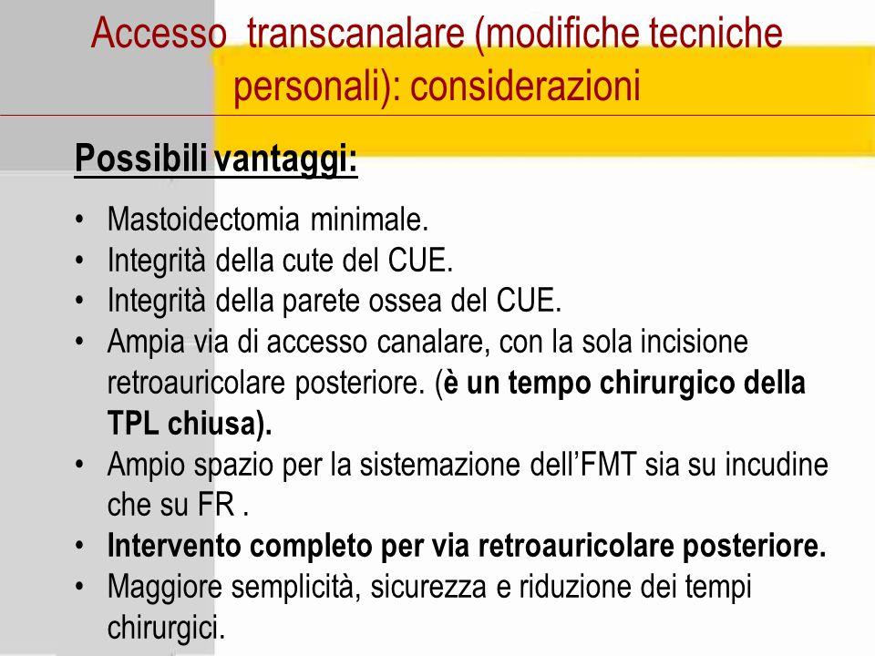 Accesso transcanalare (modifiche tecniche personali): considerazioni