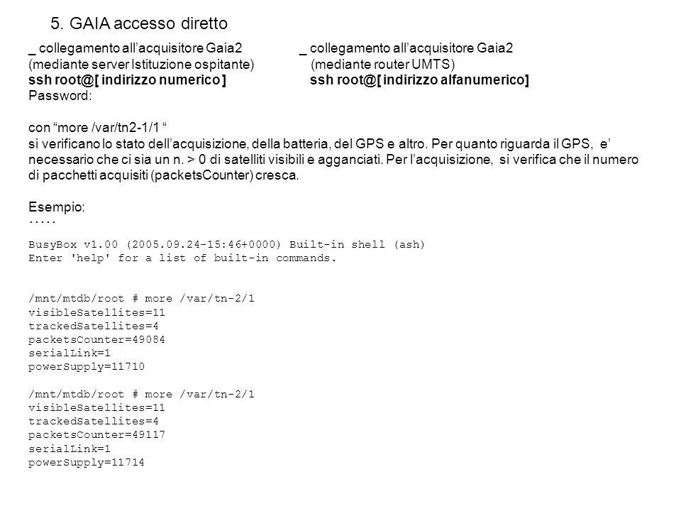 5. GAIA accesso diretto _ collegamento all'acquisitore Gaia2 _ collegamento all'acquisitore Gaia2.