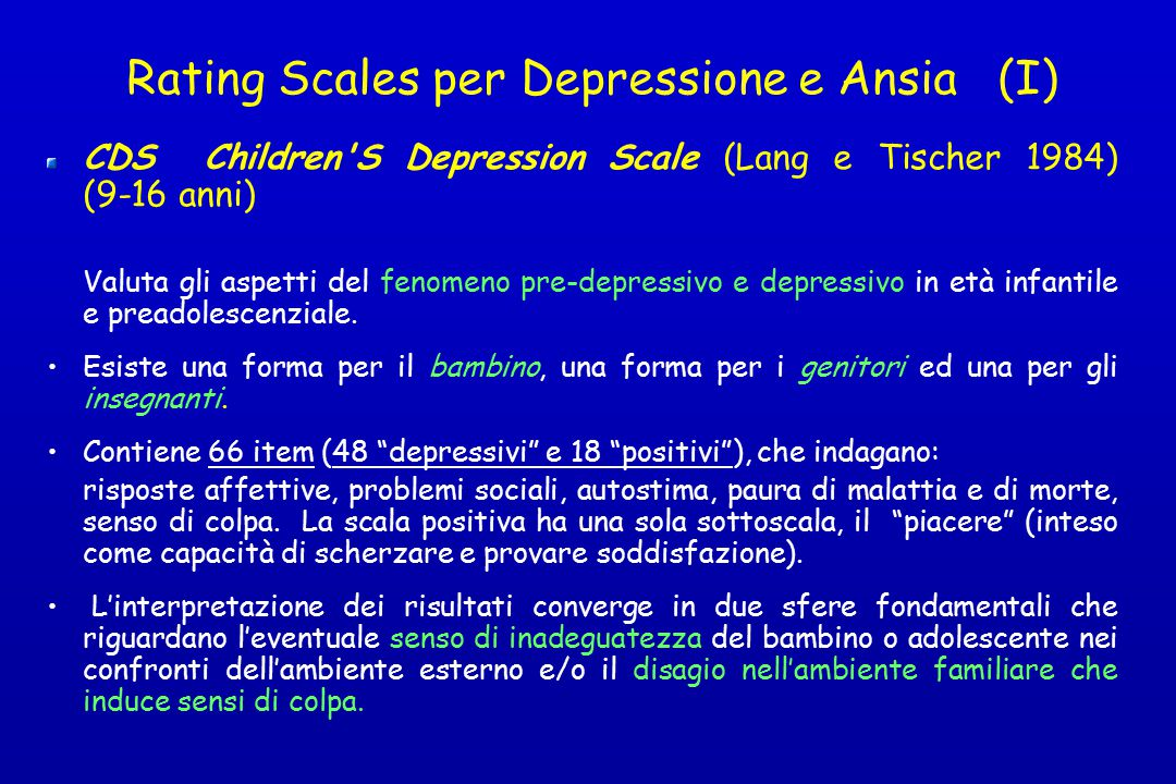 Rating Scales per Depressione e Ansia (I)