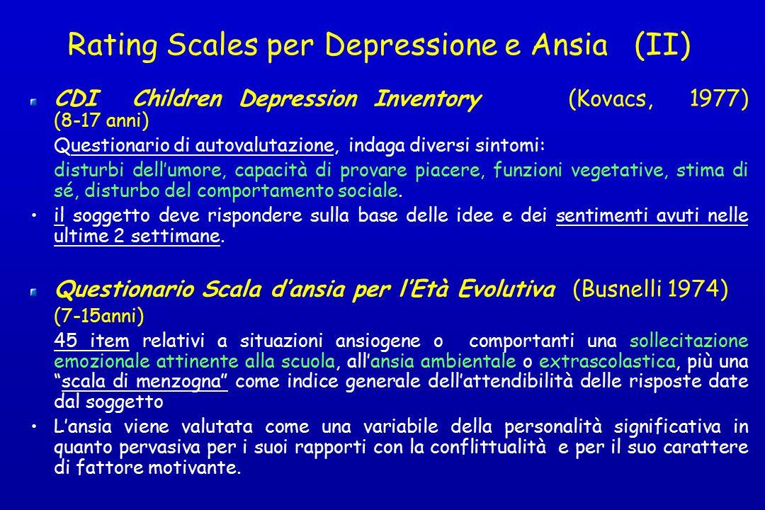 Rating Scales per Depressione e Ansia (II)