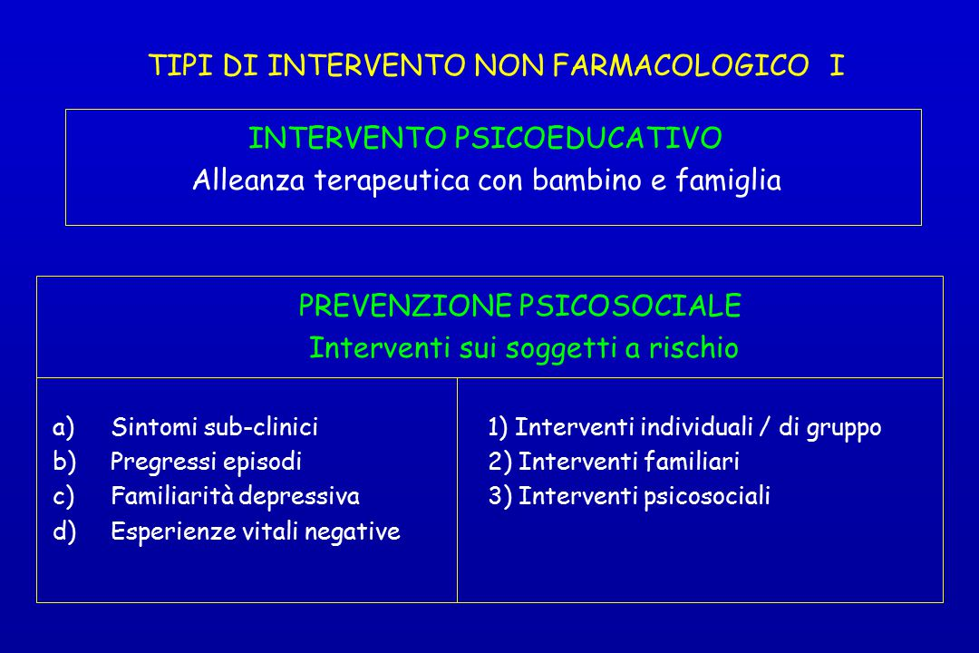TIPI DI INTERVENTO NON FARMACOLOGICO I