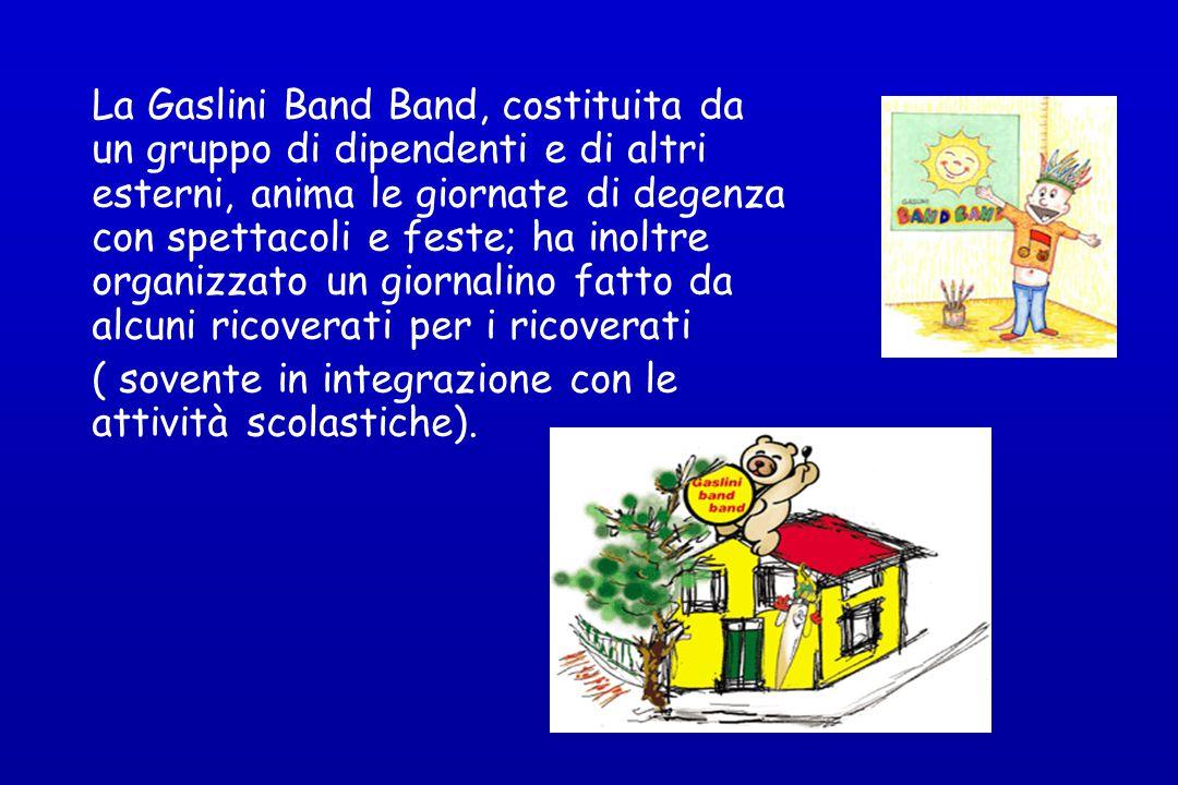 La Gaslini Band Band, costituita da un gruppo di dipendenti e di altri esterni, anima le giornate di degenza con spettacoli e feste; ha inoltre organizzato un giornalino fatto da alcuni ricoverati per i ricoverati