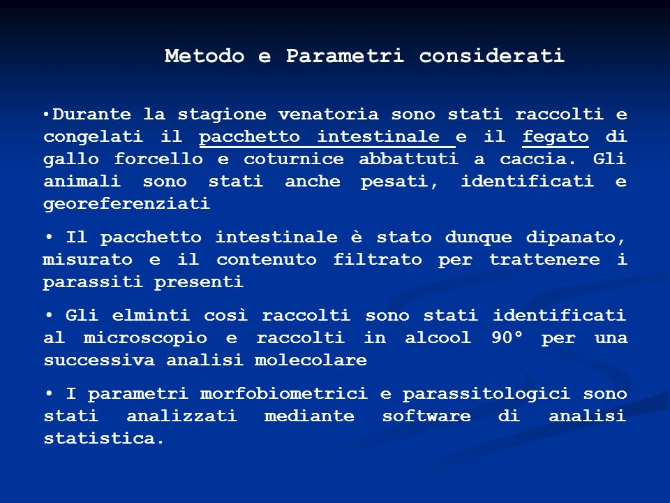 Metodo e Parametri considerati