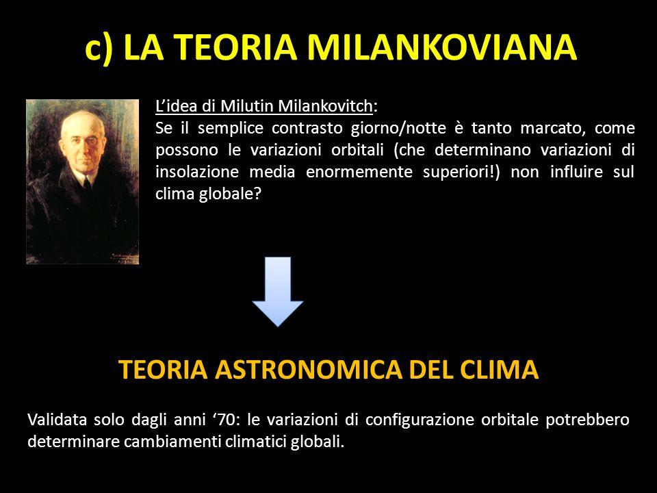 c) LA TEORIA MILANKOVIANA TEORIA ASTRONOMICA DEL CLIMA