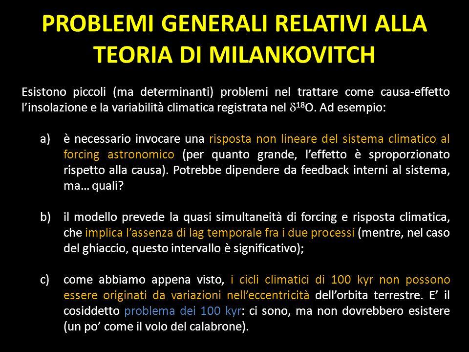 PROBLEMI GENERALI RELATIVI ALLA TEORIA DI MILANKOVITCH