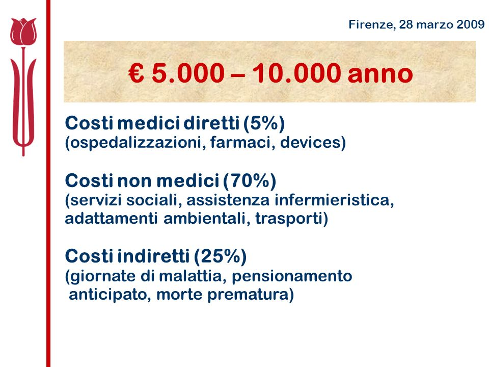 € 5.000 – 10.000 anno Costi medici diretti (5%) Costi non medici (70%)