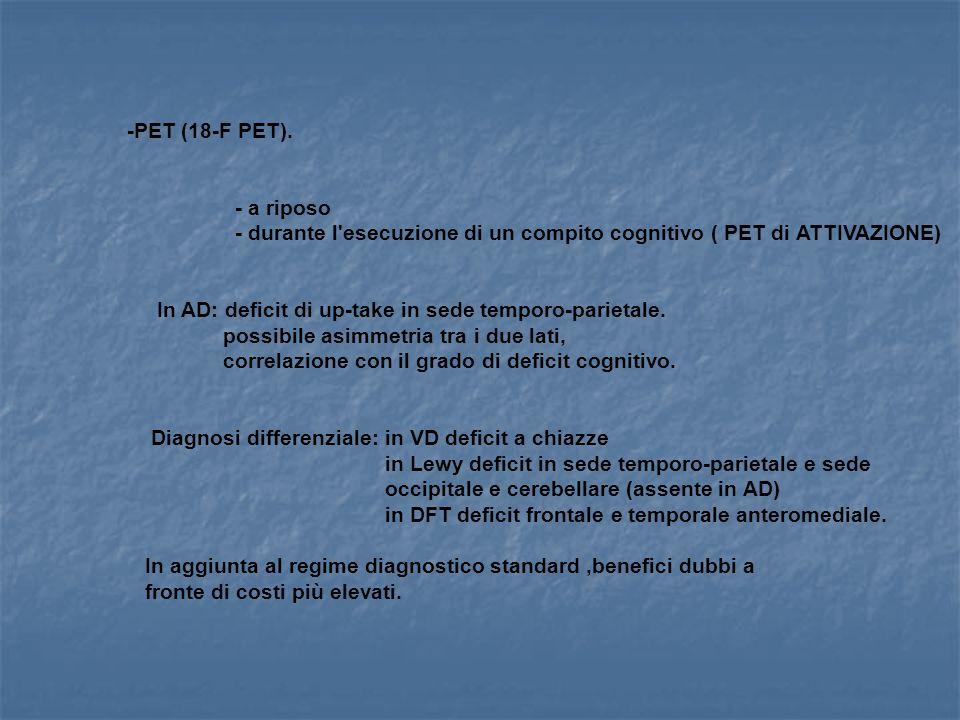 -PET (18-F PET). - a riposo. - durante l esecuzione di un compito cognitivo ( PET di ATTIVAZIONE)