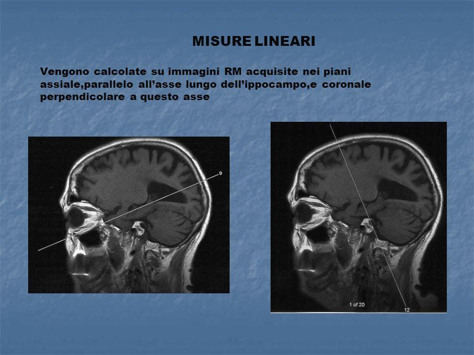 MISURE LINEARI Vengono calcolate su immagini RM acquisite nei piani assiale,parallelo all'asse lungo dell'ippocampo,e coronale perpendicolare a questo asse