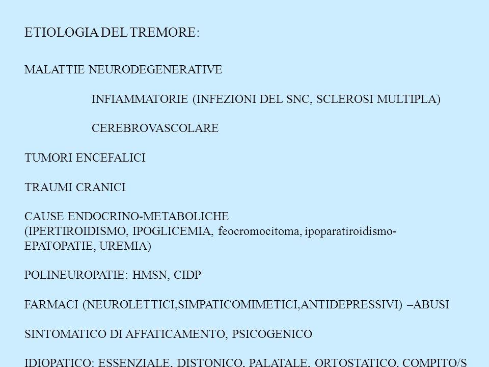 ETIOLOGIA DEL TREMORE: