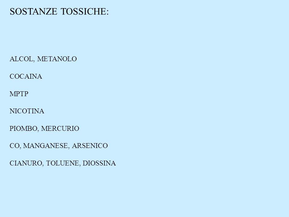 SOSTANZE TOSSICHE: ALCOL, METANOLO COCAINA MPTP NICOTINA
