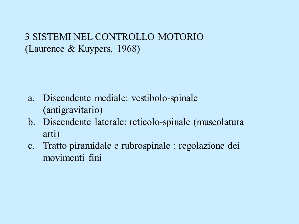 3 SISTEMI NEL CONTROLLO MOTORIO