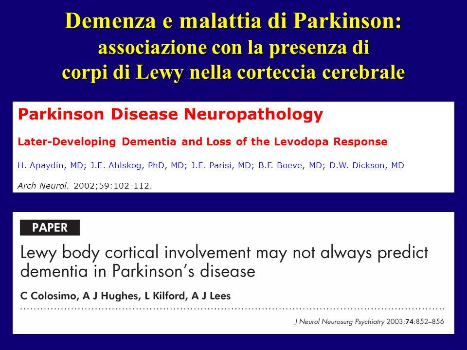 Demenza e malattia di Parkinson: associazione con la presenza di corpi di Lewy nella corteccia cerebrale