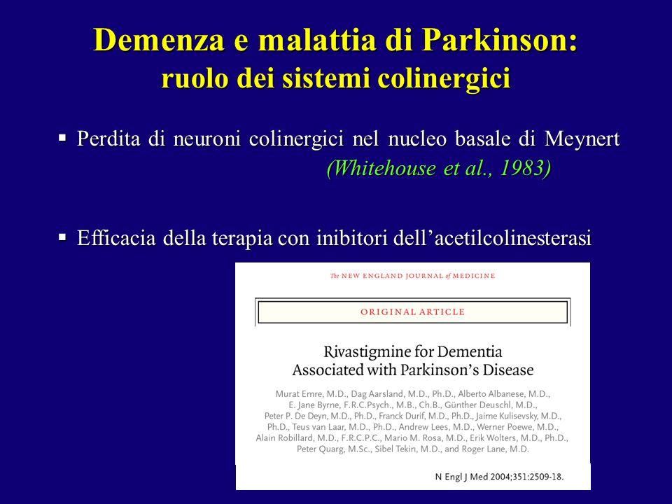 Demenza e malattia di Parkinson: ruolo dei sistemi colinergici