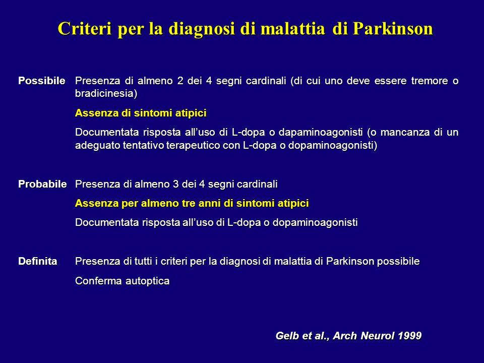 Criteri per la diagnosi di malattia di Parkinson