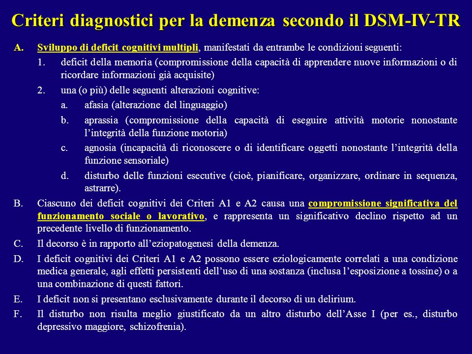Criteri diagnostici per la demenza secondo il DSM-IV-TR