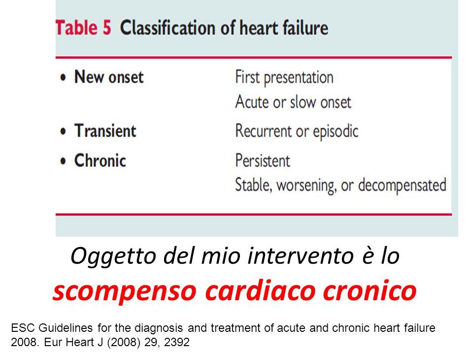 Oggetto del mio intervento è lo scompenso cardiaco cronico
