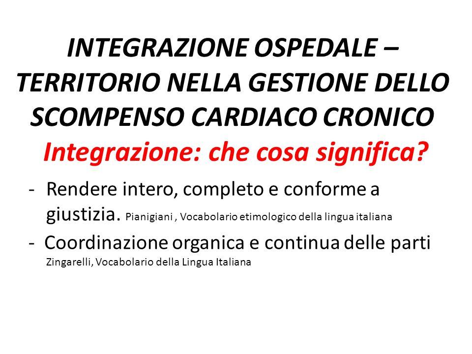 INTEGRAZIONE OSPEDALE – TERRITORIO NELLA GESTIONE DELLO SCOMPENSO CARDIACO CRONICO Integrazione: che cosa significa