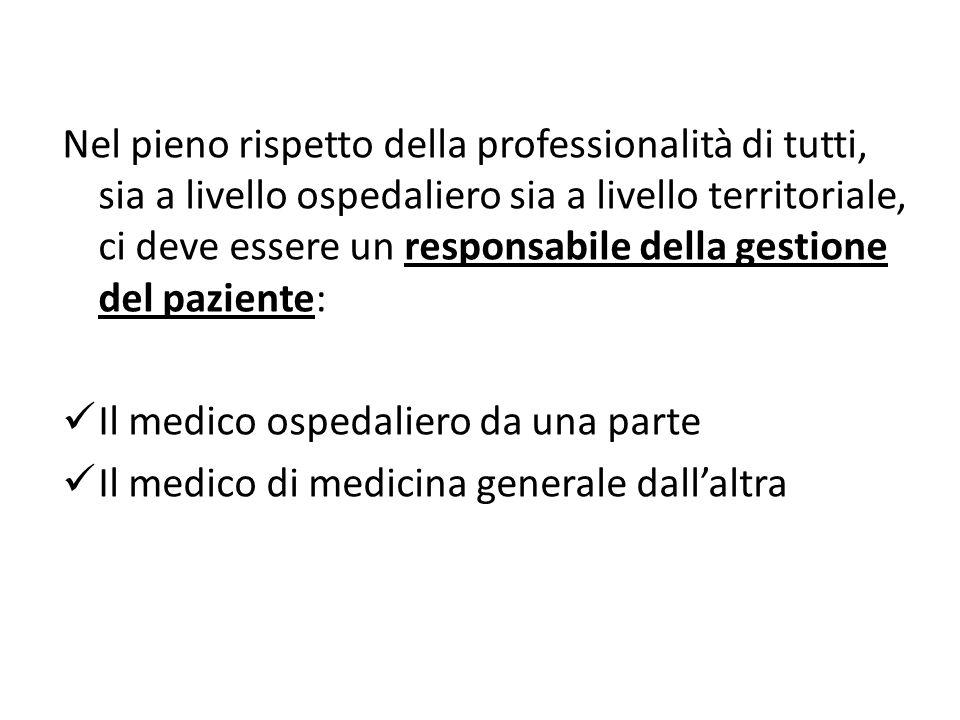 Nel pieno rispetto della professionalità di tutti, sia a livello ospedaliero sia a livello territoriale, ci deve essere un responsabile della gestione del paziente: