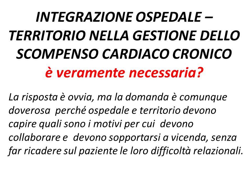 INTEGRAZIONE OSPEDALE – TERRITORIO NELLA GESTIONE DELLO SCOMPENSO CARDIACO CRONICO è veramente necessaria