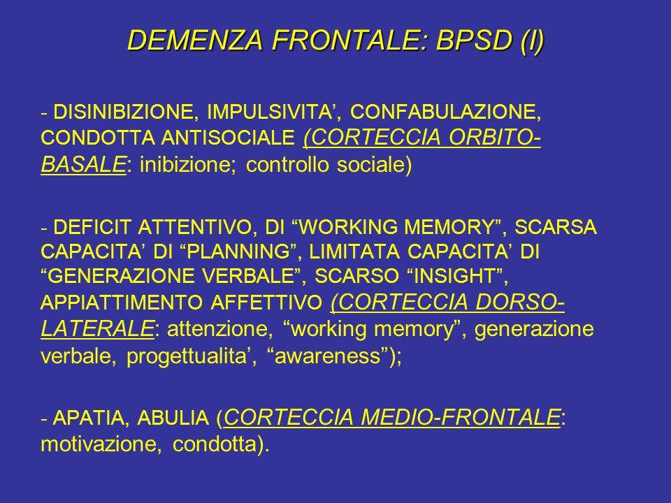 DEMENZA FRONTALE: BPSD (I)