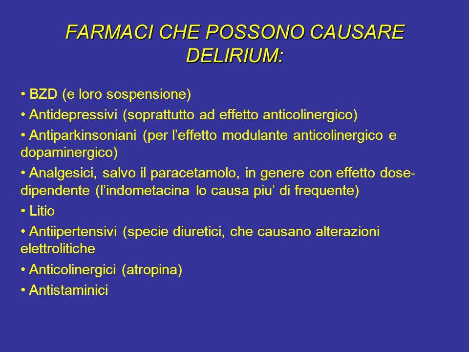 FARMACI CHE POSSONO CAUSARE DELIRIUM: