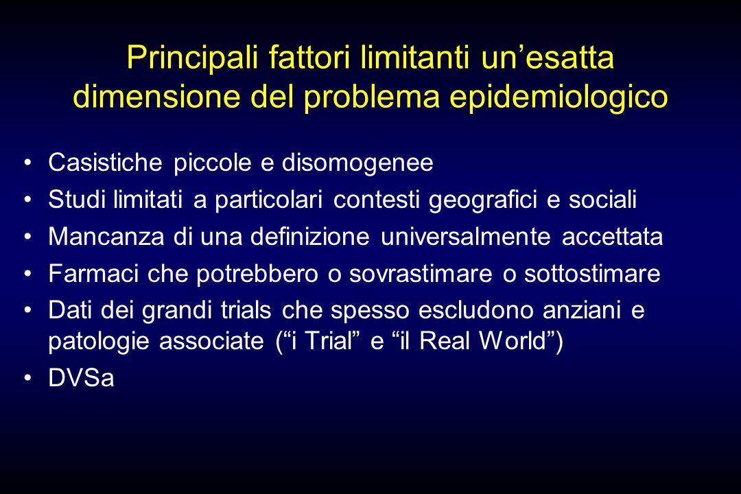 Principali fattori limitanti un'esatta dimensione del problema epidemiologico