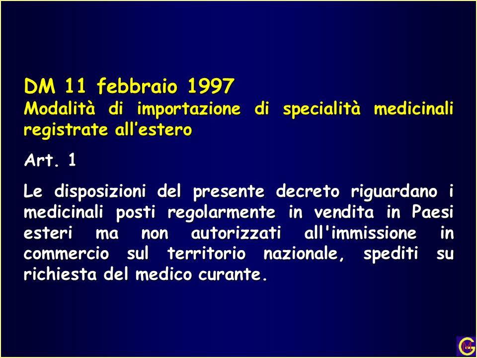 DM 11 febbraio 1997 Modalità di importazione di specialità medicinali registrate all'estero. Art. 1.