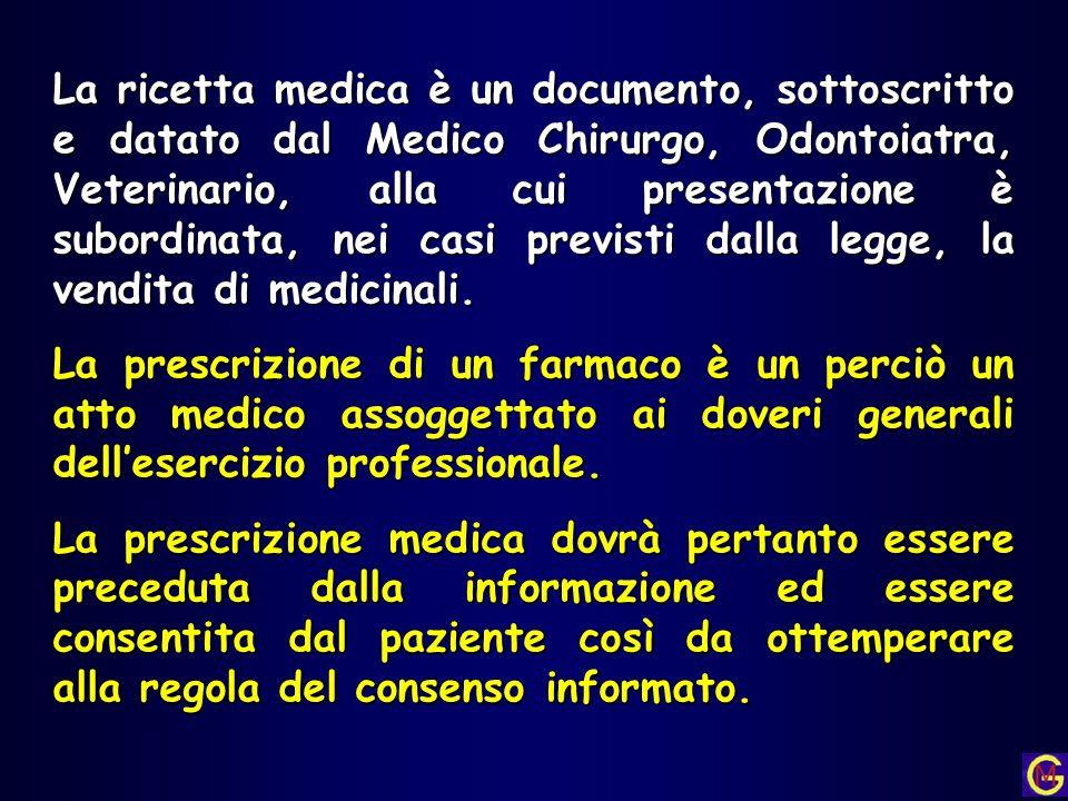 La ricetta medica è un documento, sottoscritto e datato dal Medico Chirurgo, Odontoiatra, Veterinario, alla cui presentazione è subordinata, nei casi previsti dalla legge, la vendita di medicinali.