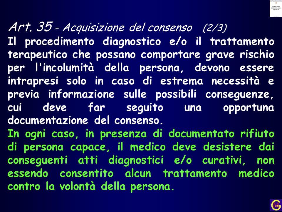 Art. 35 - Acquisizione del consenso (2/3)
