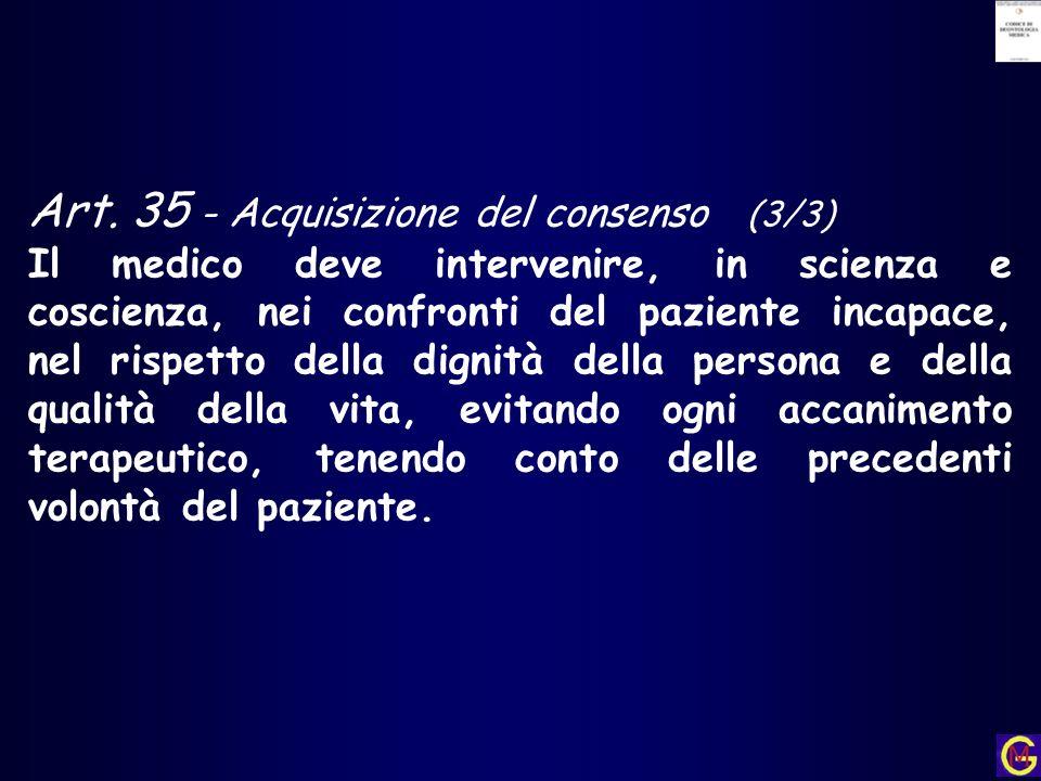 Art. 35 - Acquisizione del consenso (3/3)