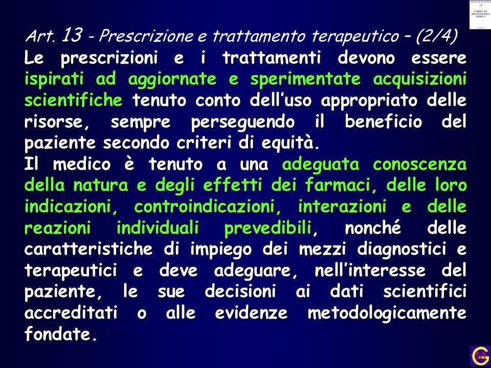 Art. 13 - Prescrizione e trattamento terapeutico – (2/4)