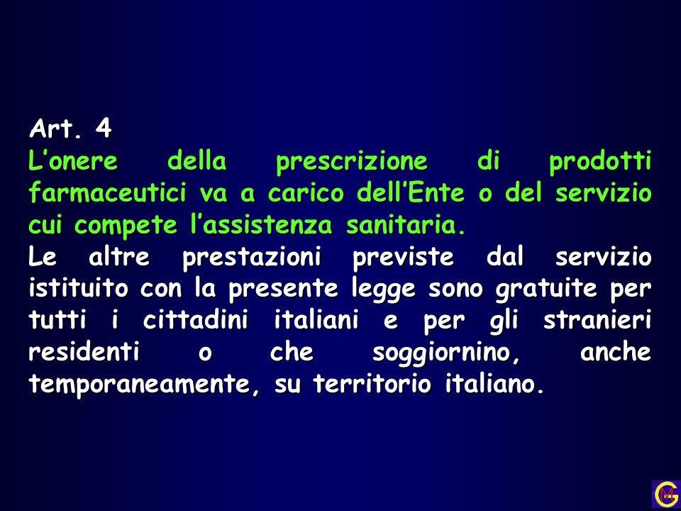 Art. 4 L'onere della prescrizione di prodotti farmaceutici va a carico dell'Ente o del servizio cui compete l'assistenza sanitaria.