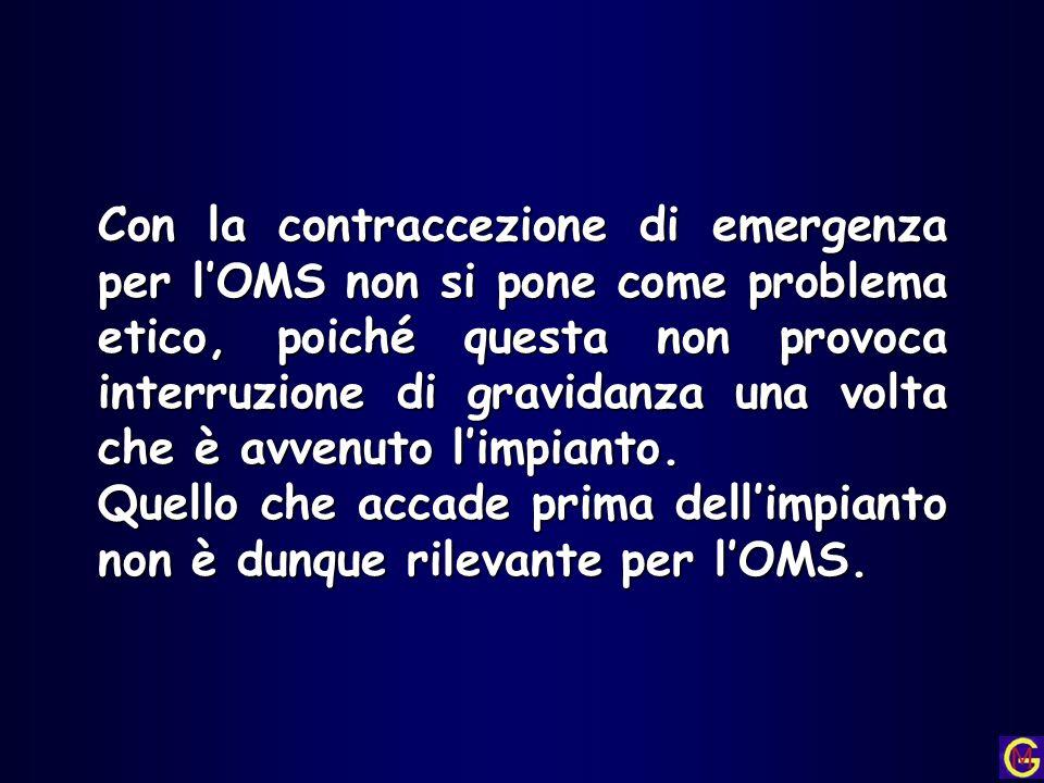 Con la contraccezione di emergenza per l'OMS non si pone come problema etico, poiché questa non provoca interruzione di gravidanza una volta che è avvenuto l'impianto.