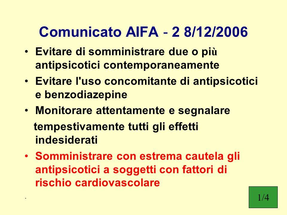 Comunicato AIFA - 2 8/12/2006 Evitare di somministrare due o più antipsicotici contemporaneamente.