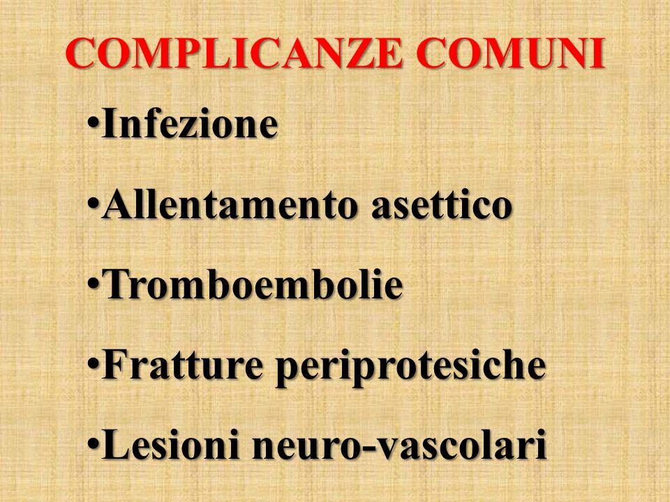 COMPLICANZE COMUNI Infezione. Allentamento asettico.