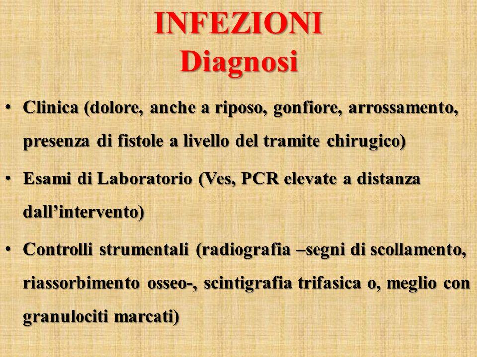 INFEZIONI Diagnosi. Clinica (dolore, anche a riposo, gonfiore, arrossamento, presenza di fistole a livello del tramite chirugico)