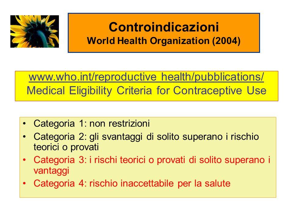 Controindicazioni World Health Organization (2004)