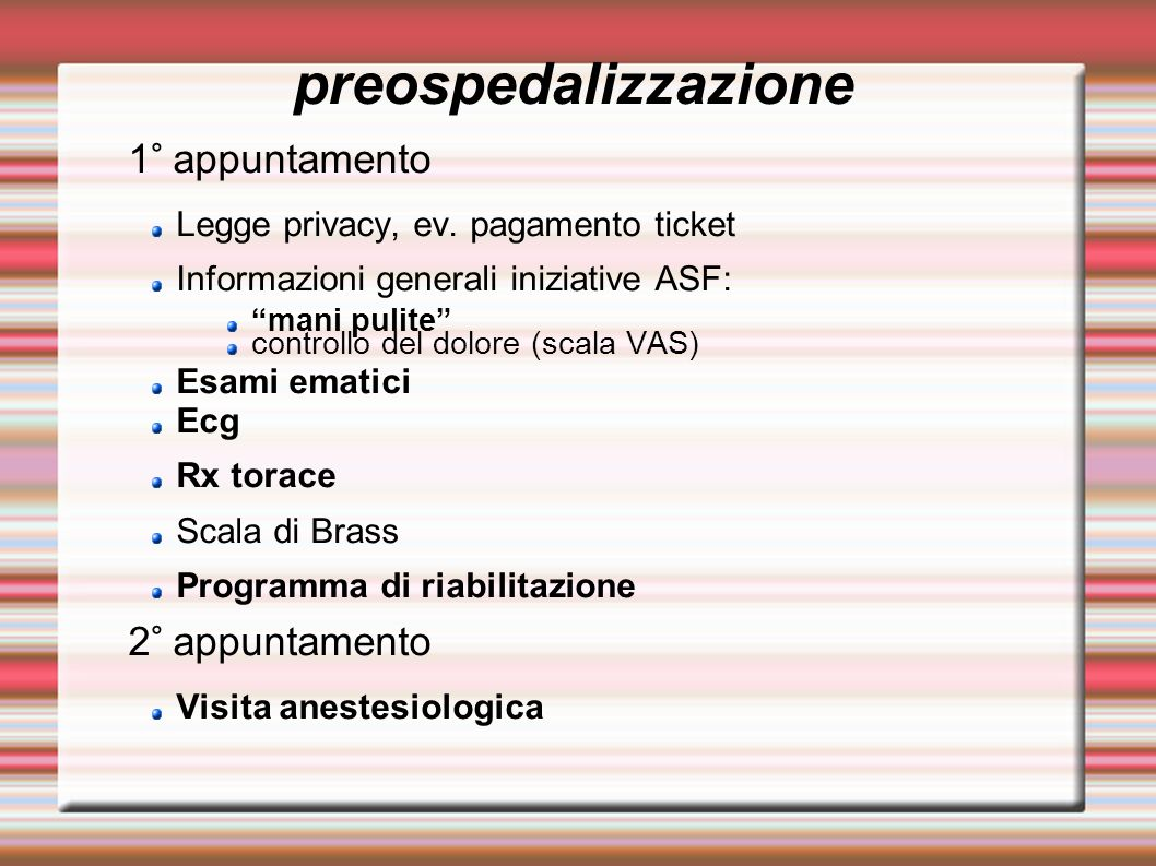 preospedalizzazione 1° appuntamento 2° appuntamento